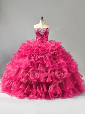 Hot Pink Sweetheart Neckline Beading and Ruffles Quinceanera Dresses Sleeveless Lace Up