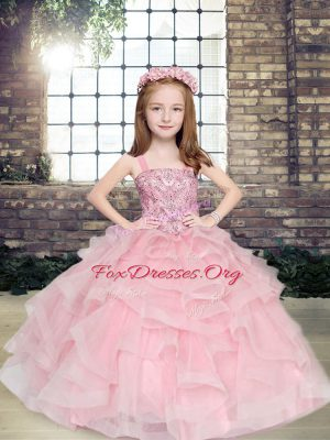 Pink Tulle Lace Up Straps Sleeveless Floor Length Little Girl Pageant Gowns Beading and Ruffles