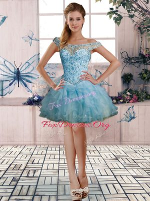 Light Blue Organza Lace Up Off The Shoulder Sleeveless Mini Length Dress for Prom Beading and Ruffles