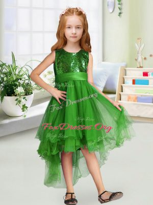 Cute Sleeveless Zipper High Low Sequins and Bowknot Flower Girl Dresses