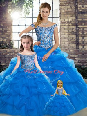 Edgy Blue Sleeveless Tulle Brush Train Lace Up Sweet 16 Dress for Military Ball and Sweet 16 and Quinceanera
