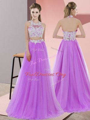 Lavender Halter Top Zipper Lace Wedding Party Dress Sleeveless