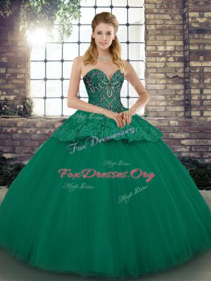Most Popular Floor Length Green Quince Ball Gowns Tulle Sleeveless Beading and Appliques