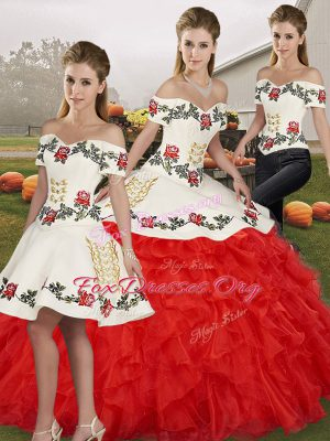 Fashionable Sleeveless Lace Up Floor Length Embroidery and Ruffles Vestidos de Quinceanera
