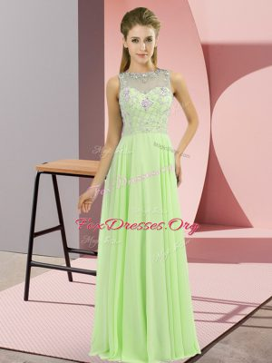 Fantastic Sleeveless Floor Length Beading Zipper Dress for Prom with