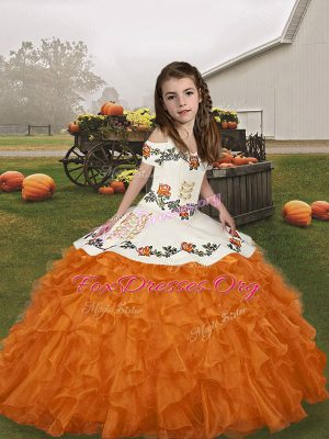Beauteous Straps Sleeveless Organza Kids Formal Wear Embroidery and Ruffles Lace Up