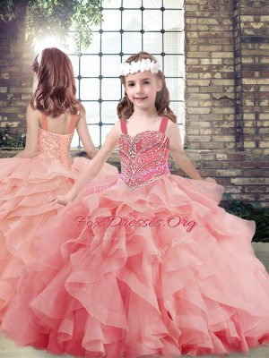 Affordable Sleeveless Tulle Floor Length Lace Up Little Girls Pageant Gowns in Watermelon Red with Beading and Ruffles