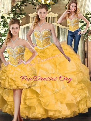 Wonderful Gold Sleeveless Organza Lace Up Quince Ball Gowns for Sweet 16 and Quinceanera