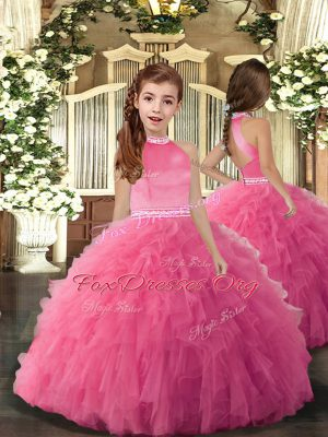 On Sale Ball Gowns Kids Formal Wear Rose Pink High-neck Tulle Sleeveless Floor Length Backless