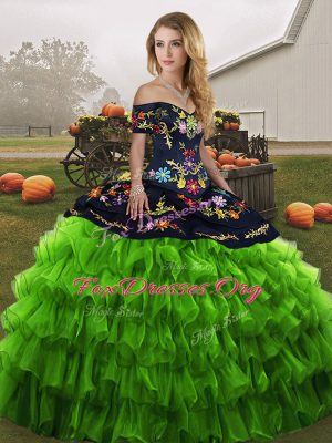 Romantic Green Ball Gowns Embroidery and Ruffled Layers Quince Ball Gowns Lace Up Organza Sleeveless Floor Length