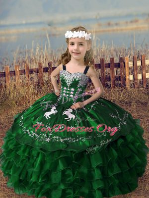 Fashionable Sleeveless Lace Up Floor Length Embroidery and Ruffled Layers Little Girl Pageant Dress