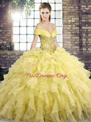 Yellow Off The Shoulder Lace Up Beading and Ruffles Sweet 16 Dress Brush Train Sleeveless