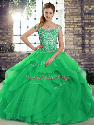 Romantic Green Tulle Lace Up Quince Ball Gowns Sleeveless Brush Train Beading and Ruffles
