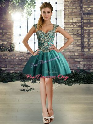 Eye-catching Mini Length Ball Gowns Sleeveless Teal Cocktail Dresses Lace Up