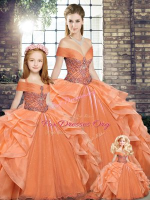 Clearance Floor Length Lace Up Ball Gown Prom Dress Orange for Military Ball and Sweet 16 and Quinceanera with Beading and Ruffles