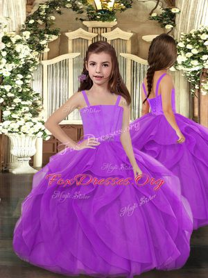 Purple Ball Gowns Tulle Straps Sleeveless Ruffles Floor Length Lace Up Little Girls Pageant Dress Wholesale