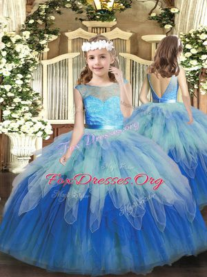 Floor Length Backless Little Girl Pageant Dress Multi-color for Party and Wedding Party with Lace and Ruffles