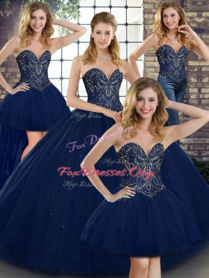 Navy Blue Sweetheart Neckline Beading Quinceanera Dresses Sleeveless Lace Up
