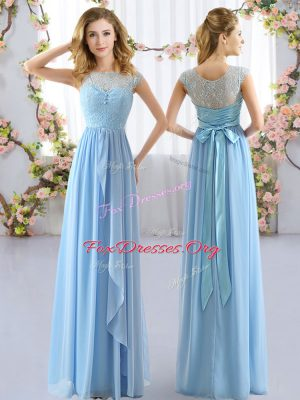 Cap Sleeves Lace and Belt Side Zipper Bridesmaid Gown