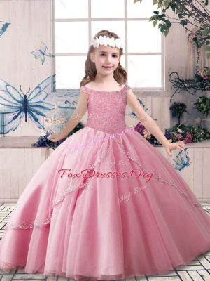 Admirable Rose Pink Ball Gowns Off The Shoulder Sleeveless Tulle Floor Length Lace Up Beading Girls Pageant Dresses