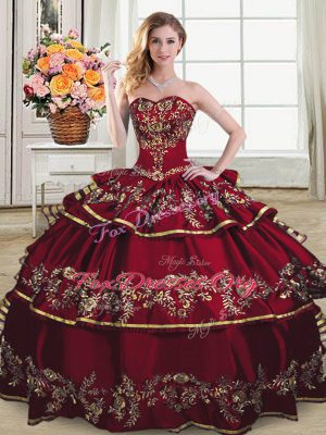 Unique Wine Red Sleeveless Organza Lace Up Sweet 16 Dresses for Sweet 16 and Quinceanera