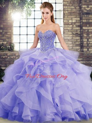 Lavender Sleeveless Tulle Brush Train Lace Up Sweet 16 Dress for Military Ball and Sweet 16 and Quinceanera