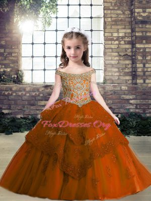Off The Shoulder Sleeveless Kids Formal Wear Floor Length Beading and Appliques Rust Red Tulle
