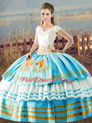 Charming Blue And White Organza Lace Up V-neck Sleeveless Floor Length Quinceanera Gowns Embroidery and Ruffled Layers