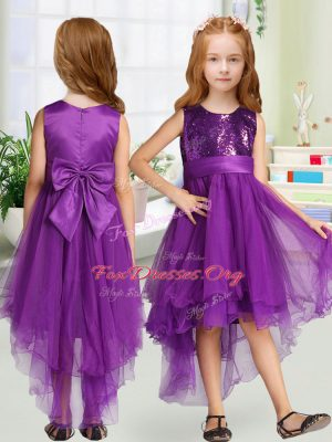 Elegant Scoop Sleeveless Organza Toddler Flower Girl Dress Sequins and Bowknot Zipper