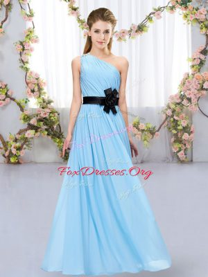 Aqua Blue One Shoulder Neckline Belt Vestidos de Damas Sleeveless Zipper