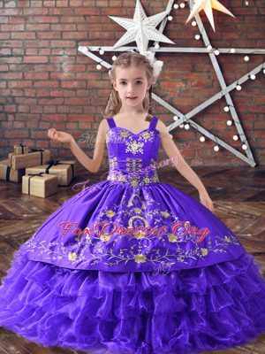 Custom Fit Lavender Sleeveless Satin and Organza Lace Up Kids Formal Wear for Wedding Party