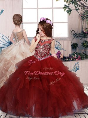 Perfect Floor Length Lace Up Kids Formal Wear Red for Party and Sweet 16 and Wedding Party with Beading and Ruffles