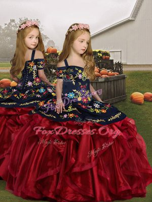 Custom Designed Wine Red Lace Up Child Pageant Dress Embroidery and Ruffles Sleeveless Floor Length