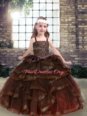Brown Straps Lace Up Beading and Ruffles Little Girl Pageant Gowns Sleeveless