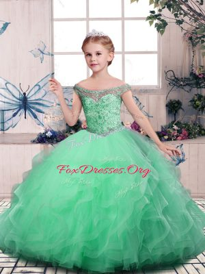 Apple Green Off The Shoulder Neckline Beading and Ruffles Pageant Dress Sleeveless Lace Up
