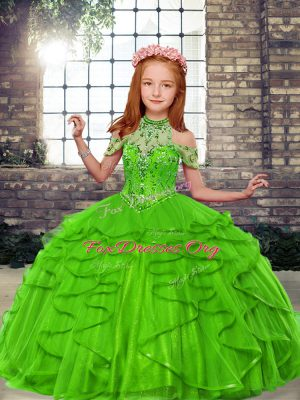 Most Popular Lace Up Little Girl Pageant Gowns Beading and Ruffles Sleeveless Floor Length