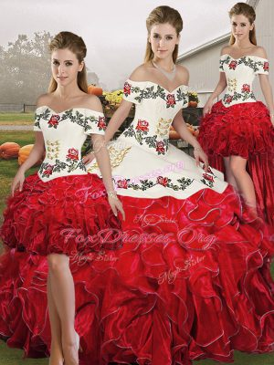 Simple Sleeveless Organza Floor Length Lace Up Quinceanera Dresses in White And Red with Embroidery and Ruffles