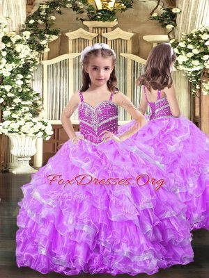 Straps Sleeveless Organza Little Girl Pageant Dress Beading and Ruffles Lace Up