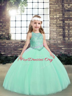 Floor Length Lace Up Little Girls Pageant Dress Wholesale Apple Green for Party and Wedding Party with Beading