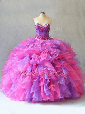 Multi-color Lace Up Ball Gown Prom Dress Beading and Ruffles Sleeveless
