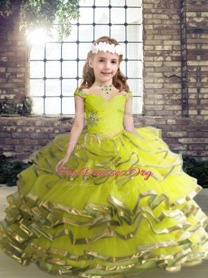 Amazing Organza Straps Sleeveless Lace Up Beading and Ruffles Kids Formal Wear in Yellow Green
