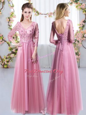 Attractive Tulle 3 4 Length Sleeve Floor Length Bridesmaid Dress and Lace and Appliques