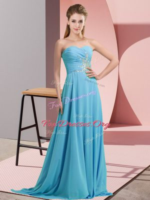 Traditional Aqua Blue Custom Made Pageant Dress Prom and Party and Military Ball with Beading Sweetheart Sleeveless Lace Up