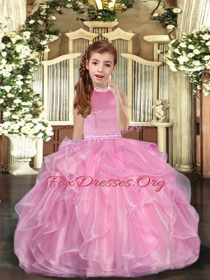 Fashionable Halter Top Sleeveless Organza Kids Pageant Dress Beading and Ruffles Lace Up