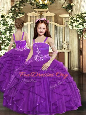 Adorable Purple Ball Gowns Ruffles Kids Formal Wear Lace Up Tulle Sleeveless Floor Length