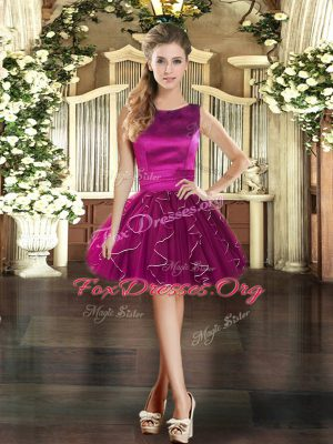 Colorful Scoop Sleeveless Tulle Prom Gown Ruffles Lace Up