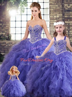 Fantastic Lavender Sleeveless Floor Length Beading and Ruffles Lace Up Quinceanera Dress