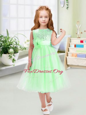 Classical Sleeveless Zipper Tea Length Sequins and Hand Made Flower Flower Girl Dresses