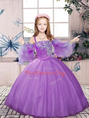 Lavender Sleeveless Tulle Lace Up Little Girl Pageant Dress for Party and Sweet 16 and Wedding Party