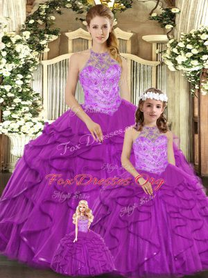 Extravagant Purple Ball Gowns Beading and Ruffles Quinceanera Gown Lace Up Tulle Sleeveless Floor Length